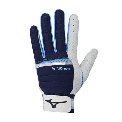 Mizuno B-130 Adult Baseball Batting Glove, Navy-Light Blue, Small
