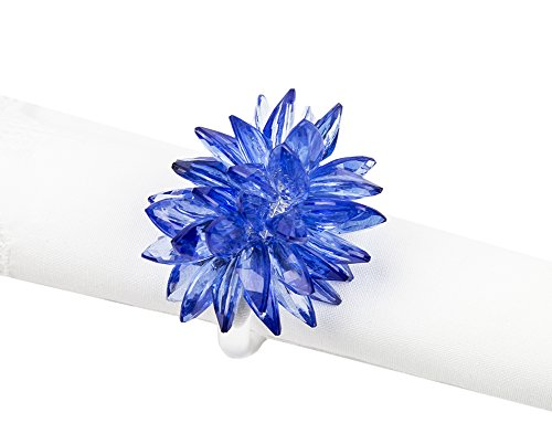 Fennco Styles Crystal Design Collection Napkin Ring - Set of 4 (Blue Crystal Flower) ()
