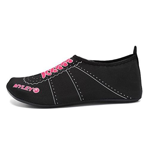EQUICK Frauen Wasser Schuhe Quick-Dry Verschnaufpause Sport Haut Schuhe Barfuß Anti-Rutsch-Multifunktionssocken Yoga Übung A.pink