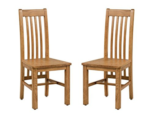 (TriThi Portland Hillsboro American Solid Oak Dining Chair with Wood Seat- Set of 2 (Golden Oak))
