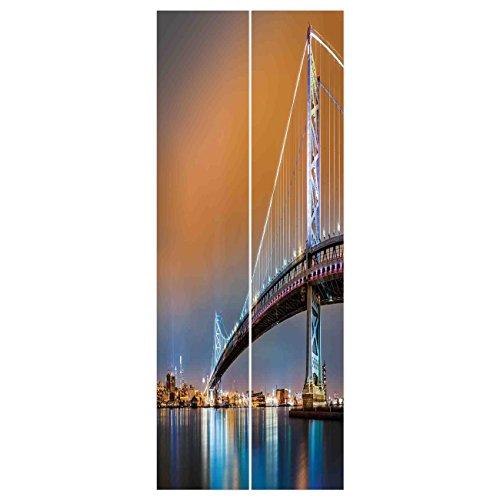 Best price Door Wall Mural Wallpaper Stickers [ Apartment Decor,Ben Franklin Bridge and Philadelphia Skyline Viewed from