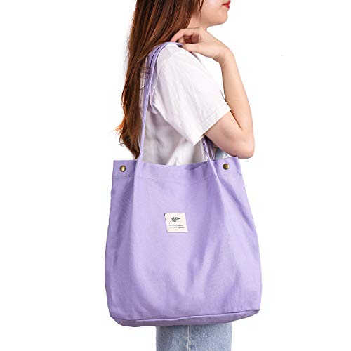 Canvas Tote Bag for Women Girls Washable, Reusable Carry Shoulder Bag With Inner Pocket(Purple)