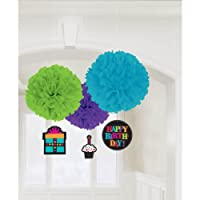 "Party On Happy Birthday Hanging Tissue Pom poms With Danglers Decoration, Pack of 3, Multi , 16"" and 7"" Tissue"