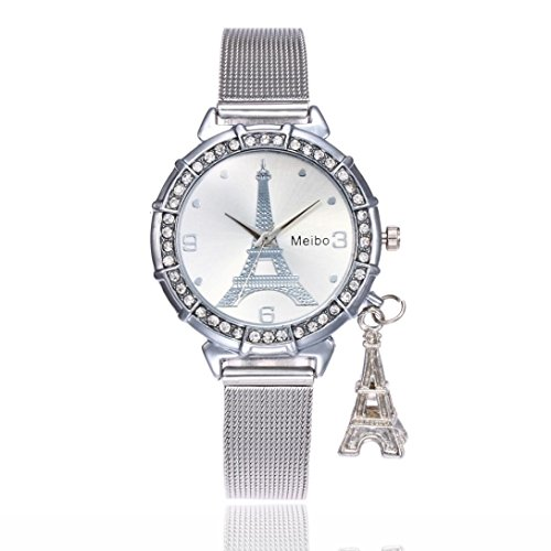 Geneva Stainless Steel Bracelets (Dressin Women's Geneva Watch, Women Classic Eiffel Tower Stainless Steel Analog Quartz Wrist Watch Mesh Bracelet Watch (Sliver))