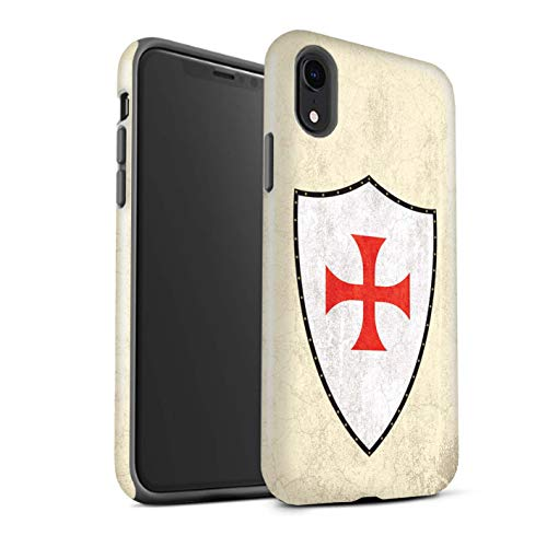 eSwish Gloss Tough Shock Proof Phone Case for Apple iPhone XR/Knight Templar Cross Design/Fantasy Medieval Shield Art Collection