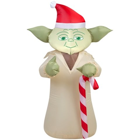 Gemmy 37213X 2.3 ft. Star Wars Yoda with Candy Cane44; 20.87 x 27.56 x 42.13 in.
