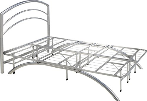 Flex Form Arched Platform Bed Frame / Metal Mattress Foundation with Headboard, Silver, (Arched Frame)
