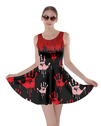Bloody Dress (CowCow Womens Bloody Hands Skater Dress, Red - 5XL)