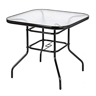 "VINGLI Outdoor Dining Table, 32"" Square Patio Bistro Tempered Glass Table Top with Umbrella Hole, Outside Banquet Furniture for Garden Pool Side Deck Lawn"