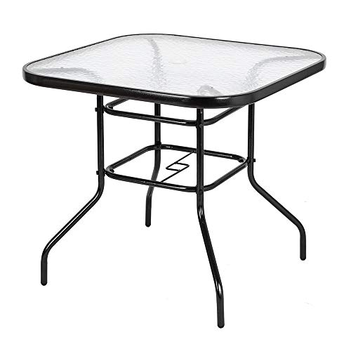 VINGLI Outdoor Dining Table, 32 Square Patio Bistro Tempered Glass Table Top with Umbrella Hole, Outside Banquet Furniture for Garden Pool Side Deck Lawn