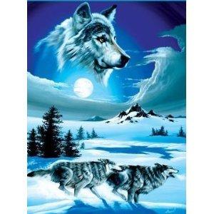 Super Soft Running Wolves Wolf Blanket Queen Size