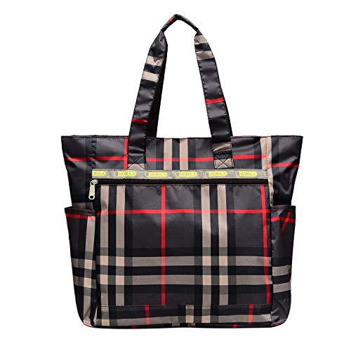 Nylon Large Lightweight Tote Bag Shoulder Bag for Gym Hiking Picnic Travel Beach Waterproof Tote Bags (BlackPlaid)