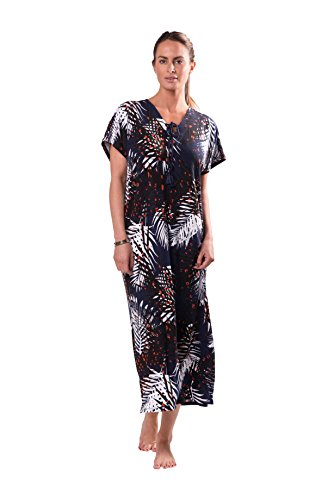 Naked Womens Luxury Printed Design Long Kaftan Style Swimsuit Cover Up Summer Dress - Palm Print, Large (Beaded Linen Tunic)