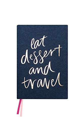 """Blushing Confetti Best Travel Journal Diary, Navy Blue Fabric & Gold Foil Hardcover, Size: 5.5"""" x 8"""", 210 ()"""
