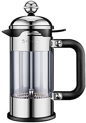 フレンチプレスポット フレンチプレスポットステンレス鋼のコーヒーポットフィルタープレスハンドウォッシュポット耐熱ガラスカップ フレンチプレスコーヒーメーカー (色 : Silver, Size : 350ml)