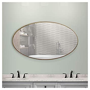 American Art Decor Framed Oval Infinity Wall Vanity Mirror – Gold 40 H x 24 L