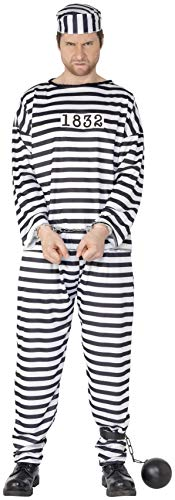 Smiffy's Men's Convict Costume with Shirt Trousers and Hat, Black & White, XL-US Size 46