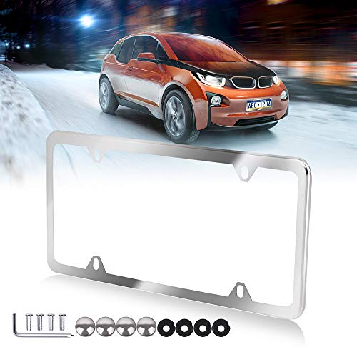 cciyu License Plates Frames Slim Silver Stainless Steel for Front Rear Car Bottom License Plate Frames 1Pcs 4 Holes Licenses Plate Covers for US Vehicles ()
