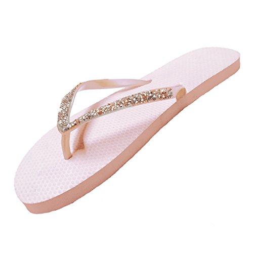 FLIP Flops SUGAR Diamante ISLAND Sandals Sparkle Ladies Girls Nude wqpzXzI