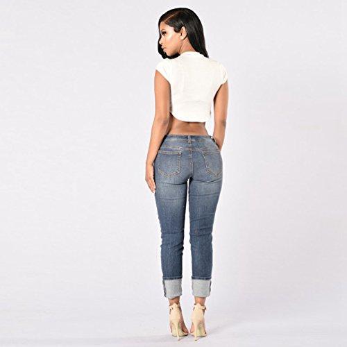 Blu Strappati Hole Jeans Elastico Scarni Pantaloni Leggings Zkoo Scuro Lunghi Matita Donna Denim 5P0xqdw