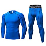 Minghe Men's 2pcs Thermal Long Johns Cool Dry Compression Set Baselayer Top Bottoms Blue S