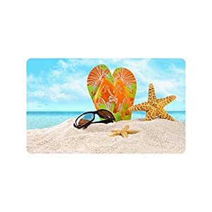 Valentine's Day Gifts Sunglasses Flip Flops Starfish On Beach Design Durable Home Indoor/Outdoor Floor Mat Doormats 30 x 18 inches(Large)