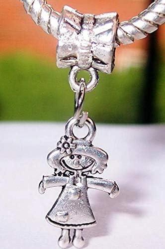 Little Girl Rag Doll Daughter Granddaughter Dangle Charm for European Bracelets