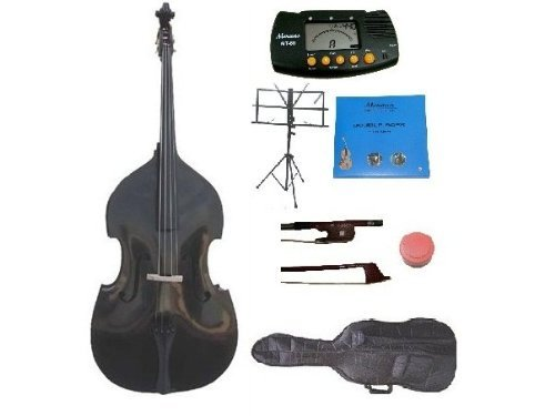 GRACE 4/4 Size Black Upright Double Bass with Bag,Bow,Bridge+2 Sets Strings+Rosin+Music Stand+Metro Tuner by Grace