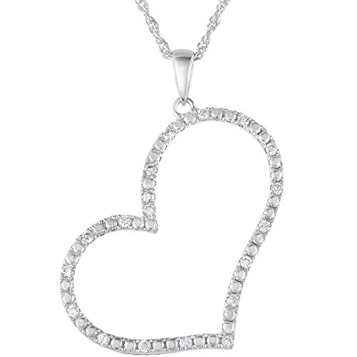 1/4 cttw SI2-I1 Certified 18K White Gold Diamond Heart Pendant