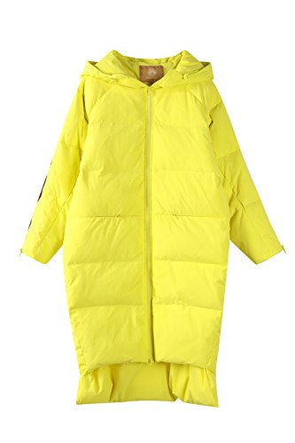 Elf Sack Women's Hooded Down Jacket Long Winter Coats With Raglan Sleeve Yellow X-Large by Elf Sack (Image #2)