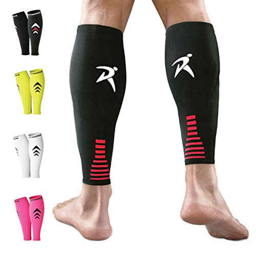 (Rymora Calf Compression Sleeves for Men and Women (Calves Treatment for Shin Splints, Running, Etc) (One Pair) (Black) (Large))