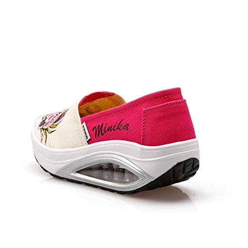 Btrada Kvinna Mode Sneakers Duk Runt Topp Ökning Luftkudden Mjuk Slip På Sportskor Från Rött