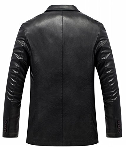 Coat today Jacket UK Men Black Comfy Faux Button Two Formal Leather Blazer 7q6Hz