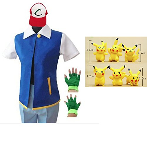 [HAIK Pokemon Cosplay Costume Hoodie Cosplay Jacket Gloves Hat Sets for Trainer (X-L, Blue)] (Pokemon X And Y Ash Costume)