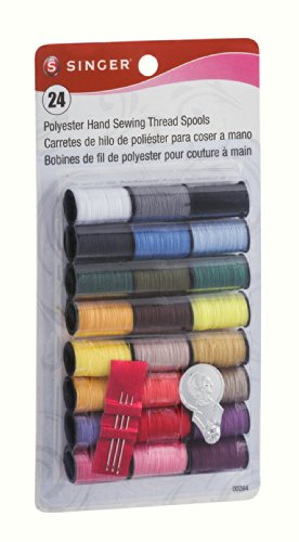 Singer 00264 Assorted Colors 100% Spun Polyester Thread 24 Count (Pack of 3) (Singer One 24 Stitch compare prices)