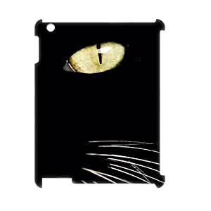 wugdiy New Fashion Cover 3D Case for iPad2,3,4 with custom black cat eye