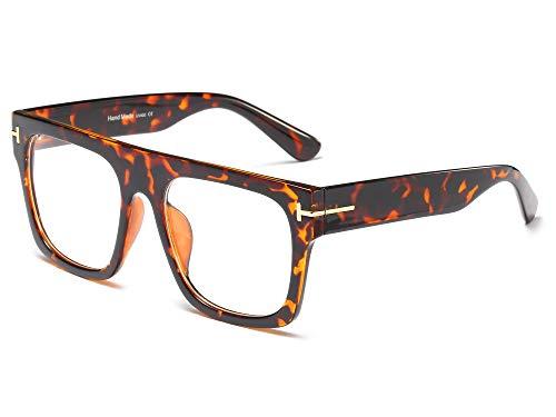 Allt Unisex Oversized Square Optical Eyewear Non-prescription Eyeglasses Flat Top Clear Lens Glasses Frames ()