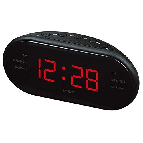 (Leoie LED Alarm Clock Radio Digital AM/FM Radio Red With EU Plug)