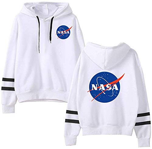 (FLYCHEN Women's Fashion NASA Hoodie National Space Administration Logo Sweatshirt White XL)