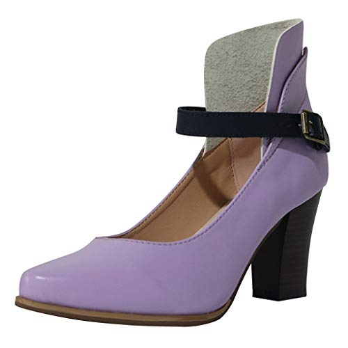 Tantisy ♣↭♣ Women's Chunky Classic Round Toe Ankle Strap Shoes Buckle Closure Leather Mary Janes Dress Pump/8cm/3.14'' - Wall Mounted Top Arch Jewelry