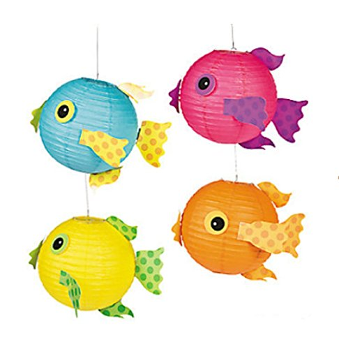 Tropical Fish Luau Paper Lanterns (set of 4)
