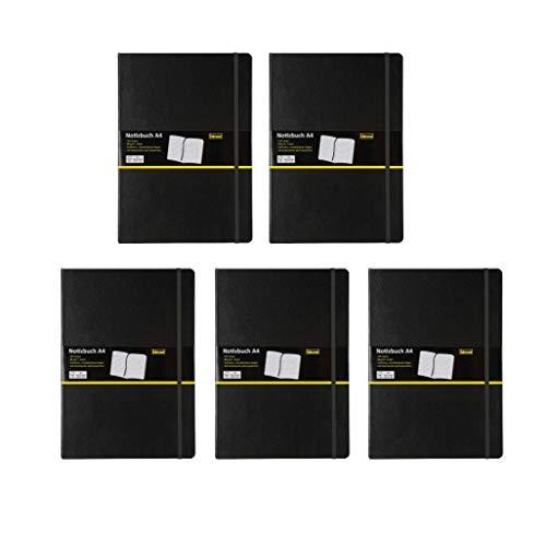 Idena 209292 Notizbuch FSC-Mix, A4, liniert, Papier cremefarben, 96 Blatt, 80 g/m², Hardcover in schwarz (DIN A4 | 5er Pack, liniert)