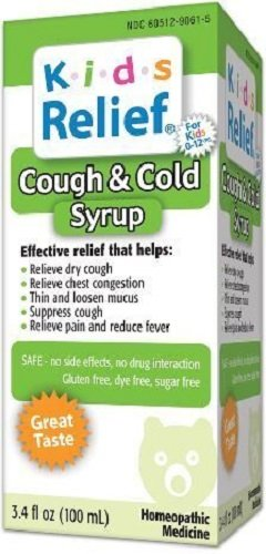 Kids Relief Cough & Cold Syrup, 3.4-Ounce Bottle (Pack of 2) (Cough Syrup Dry)