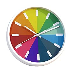 Q-seedling Modern Colorful Stylish Elegant Silent Non-ticking Decorative Home Kitchen/Living Room Wall Clock (10 in, White)