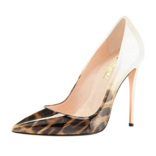 VOCOSI Pointy toe Pumps For Women,Patent Gradient Animal Print High Heels Usual Dress Shoes 10cm-Wh-Leo 9 US (Leather Print Synthetic)