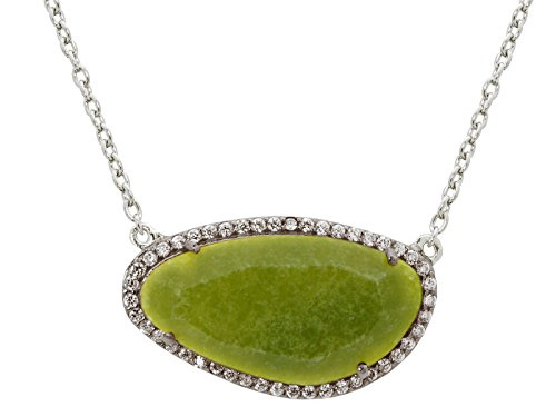 Fronay Co Platinum Plated Sterling Silver Olive Jade Slice Stone Necklace, 16