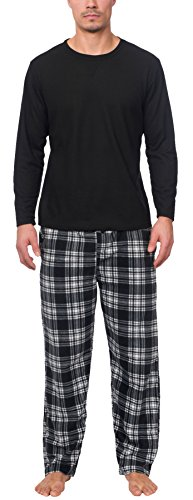 Wanted Men's Thermal Top With Ultra Soft Micro Fleece Pant Pajama Set (Black/White, (Micro Fleece Plush Pants)