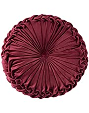 """Throw Pillow for Couch Decorative 3D Pumpkin Vehicle Wheel Round Velvet Cushion for Sofa Bed Chair Floor 15""""X15"""""""