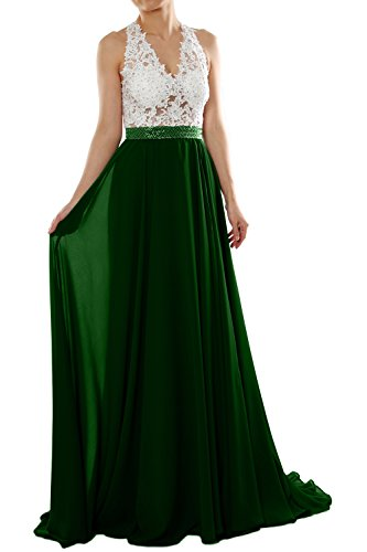 MACloth Women V Neck Lace Chiffon Long Prom Dresses Formal Party Evening Gown (38, Plateado)