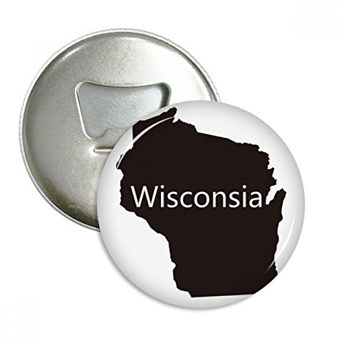 Wisconsin America USA Map Silhouette Round Bottle Opener Refrigerator Magnet Pins Badge Button Gift 3pcs